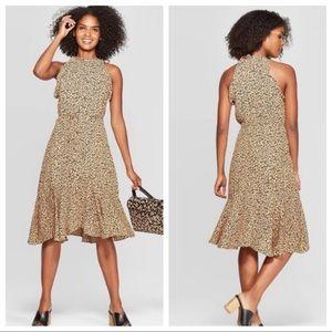 WHO WHAT WEAR Leopard Print A Line Midi  Dress